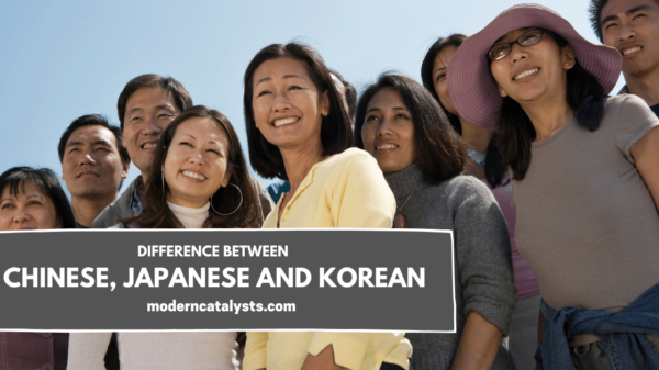 difference between chinese japanese korean people